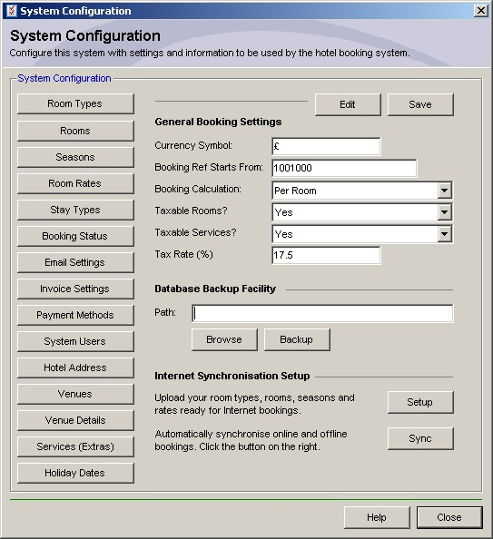 Hotel Software - System Configuration